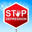 Stop Depression Shows Lost Hope And Caution — Stock Photo #54208225