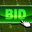 Bid Button Indicates World Wide Web And Auctioning — Stock Photo #54208227