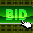 Bid Button Represents World Wide Web And Auction — Stock Photo #54208701