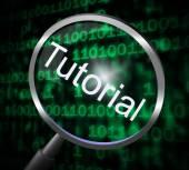 Tutorial Magnifier Represents Online Tutorials And Development — Stock Photo