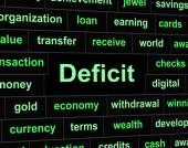 Deficit Debts Means Financial Obligation And Arrears — Stock Photo