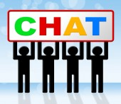Chatting Chat Means Messenger Communicating And Call — Stock Photo
