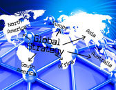 Global Strategy Means Globalization Globe And Solutions — Stock Photo