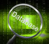Magnifier Databases Shows Byte Magnify And Searching — Stock Photo