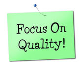 Focus On Quality Indicates Check Excellent And Perfect — Stock Photo