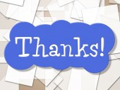 Sign Thanks Shows Display Message And Grateful — Stock Photo