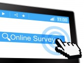 Online Survey Means World Wide Web And Assessing — Stock Photo