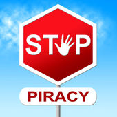 Piracy Stop Indicates Copy Right And Control — Stock Photo