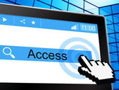Online Access Shows World Wide Web And Permission — Stock Photo