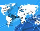 Outsource Worldwide Indicates Independent Contractor And Earth — Foto de Stock
