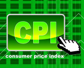Consumer Price Index Means World Wide Web And Searching — Foto de Stock