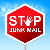 Stop Junk Mail Shows Warning Sign And Danger — Stock Photo