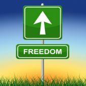 Freedom Sign Represents Get Away And Direction — Stock Photo