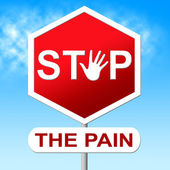 Pain Stop Indicates Warning Sign And Control — Stock Photo