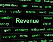 Revenue Earnings Means Revenues Earns And Wage — Stock Photo