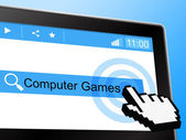 Computer Games Means World Wide Web And Entertainment — Stock Photo