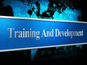 Training And Development Represents Coaching Learning And Lessons — Stock Photo