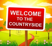 Welcome Countryside Means Nature Hello And Meadows — Stock Photo