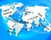 Tourism Worldwide Means Vacation Destinations And Tourist — Stok fotoğraf