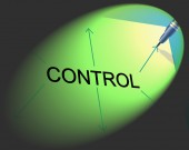 Controlling Management Shows Controller Interface And Head — Stock Photo