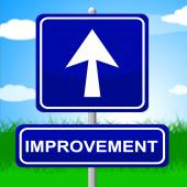 Improvement Sign Means Upward Progress And Advancing — Stok fotoğraf