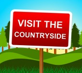 Visit The Countryside Means Message Nature And Signboard — Stock Photo