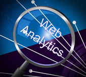 Web Analytics Means Magnifying Research And Information — Stock Photo