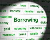 Borrowing Debt Means Financial Obligation And Owning — Stock Photo
