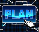 Plan Button Means Project Programme And Web — Stock Photo