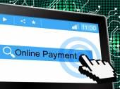 Online Payment Indicates World Wide Web And Amount — Stock Photo