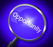 Opportunity Magnifier Means Search Magnify And Chances — Stock Photo