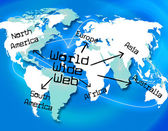World Wide Web Shows Searching Globalize And Online — Stock Photo