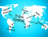Think Global Means Contemplate Thinking And Globalize — Stock Photo