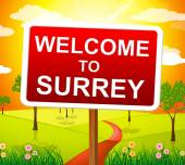 Welcome To Surrey Means United Kingdom And Landscape — Stock Photo