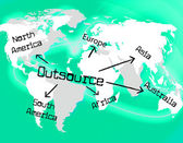 Outsource Worldwide Shows Independent Contractor And Contracting — Zdjęcie stockowe
