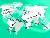Outsource Worldwide Shows Independent Contractor And Contracting — Stock Photo
