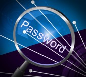Magnifier Password Shows Log In And Accessible — Stock Photo