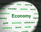 Finances Economy Shows Accounting Business And Figures — Foto Stock