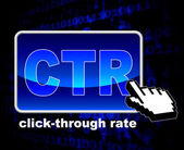 Click Through Rate Shows World Wide Web And Analytics — Stockfoto