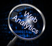 Web Analytics Indicates Magnifier Magnify And Report — Stock Photo