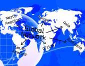 Global Network Indicates Www Communication And Communicate — Stock Photo
