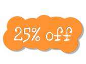 Twenty Five Percent Represents Cheap Savings And Sale — Stock Photo