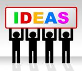Sign Ideas Represents Invention Placard And Thoughts — Stock Photo