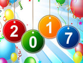New Year Means Two Thousand Seventeen And Celebrating — Stock Photo