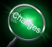 Charges Magnifier Represents Fee Payment And Bill — Stock Photo