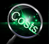 Costs Magnifier Represents Magnification Price And Expenditure — Stock Photo