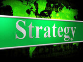 Business Strategy Means Commercial Biz And Tactics — Stock Photo