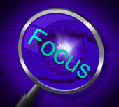 Focus Magnifier Shows Magnification Attention And Focused — Stock Photo