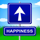 Happiness Sign Indicates Arrows Advertisement And Positive — Stock Photo