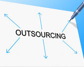 Outsource Outsourcing Represents Independent Contractor And Contracting — Foto de Stock